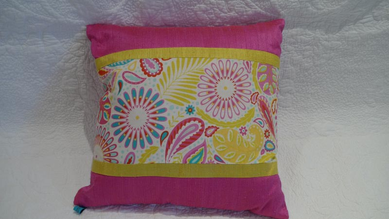 Fuchsia floral cushion - $50