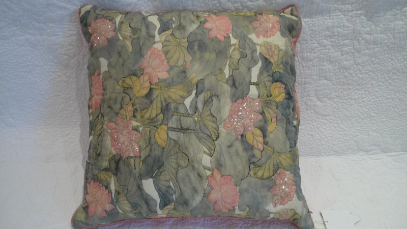 Green & pink floral cushion - $20 (2 available)