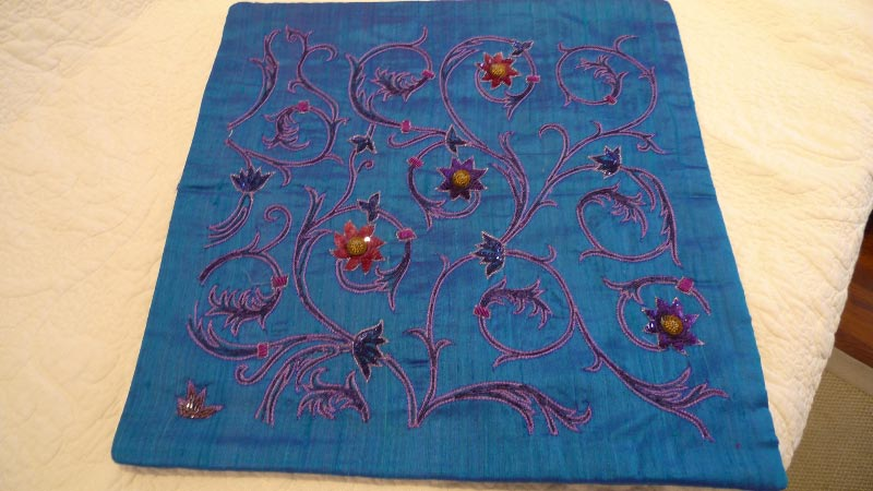 100% silk cushion cover, handmade in India - $50 (2 available)