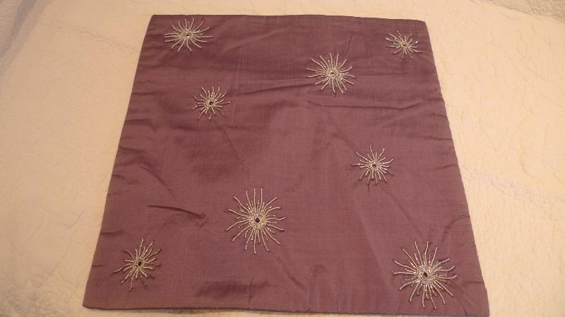 100% silk cushion cover, handmade in India - $50