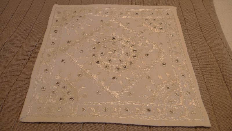 White lace design cushion cover, 100% silk, handmade in India - $50