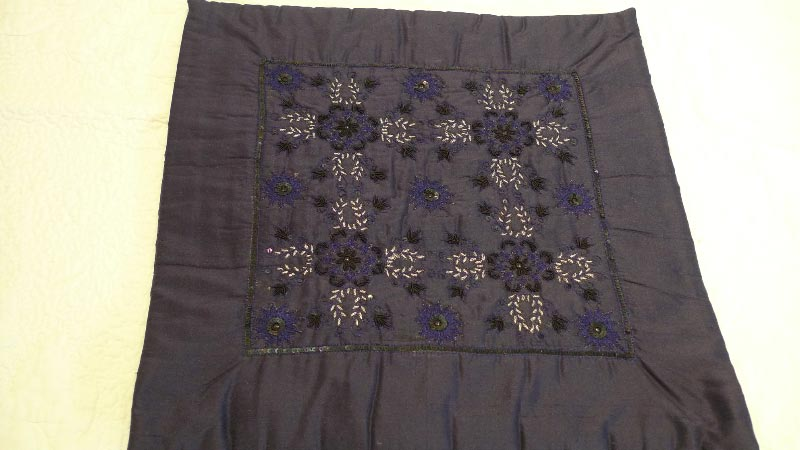 Dark blue cushion cover, 100% silk, handmade in India - $50 (4 available)