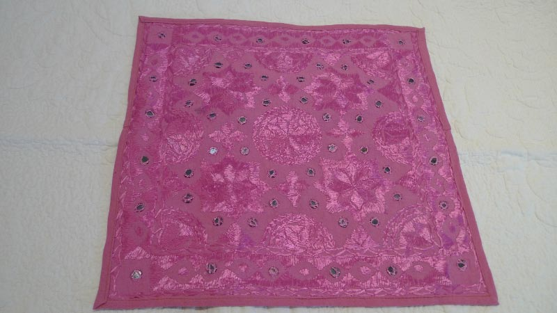Pink with silver sequins cushin cover, 100% silk, handmade in India - $50