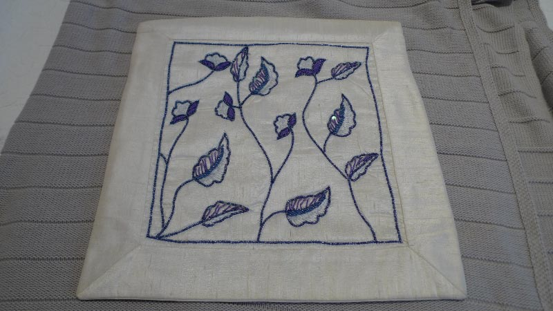 Ivory silk with blue & purple embroidery cushion cover, 100% silk, handmade in India - $50 (2 available)