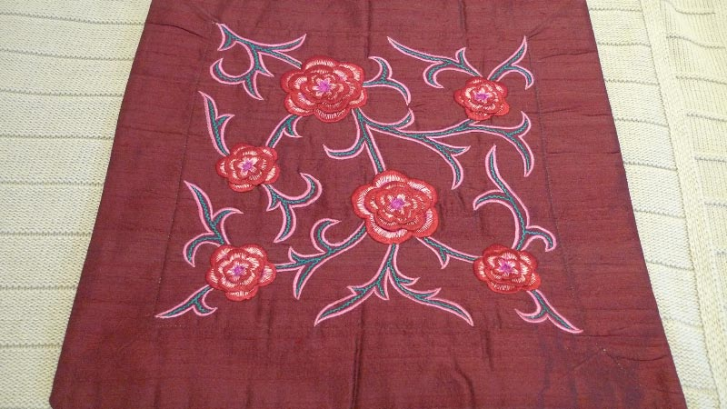 Deep red cushion cover, 100% silk, handmade in India - $50