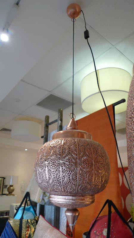 Copper light fitting, handmade in Syria - $350