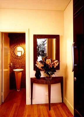 Powder Room with Hall Table and Mirror